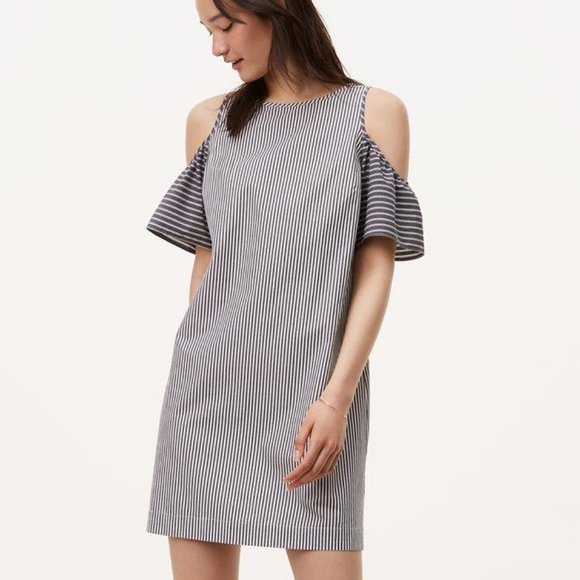 LOFT Dresses & Skirts - LOFT Mixed Stripe Cold Shoulder Shift Dress